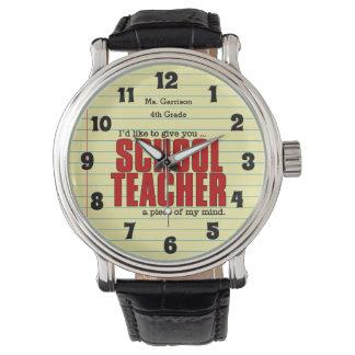 心|のおもしろいなカスタムの学校の先生の部分 腕時計