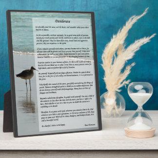 必要なものの詩-ビーチ場面のカモメ フォトプラーク