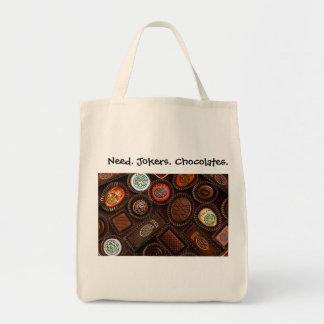 必要性。 ジョーカー。 チョコレート。 食料雑貨Totebag. トートバッグ