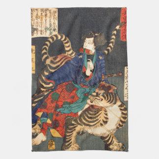 忍者と虎、芳年の忍者の英雄及びトラ、Yoshitoshi、Ukiyo-e キッチンタオル