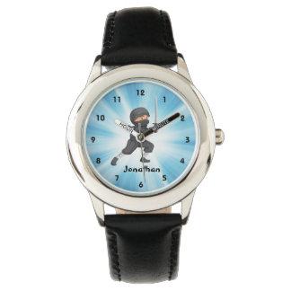 忍者のデザインの腕時計 腕時計
