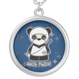 忍者のパンダ! Shuriken数々のなNinjadorablesのネックレス シルバープレートネックレス