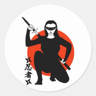 忍者の女の子 ラウンドシール