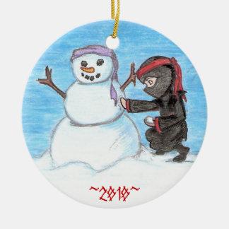 忍者の雪だるま セラミックオーナメント