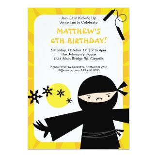 忍者力の黄色の招待状 カード
