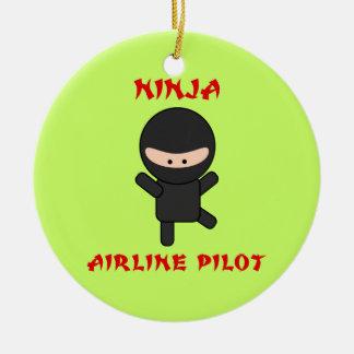 忍者航空会社のパイロット セラミックオーナメント