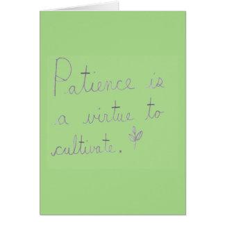 忍耐は筆記体カードを耕す美徳です カード