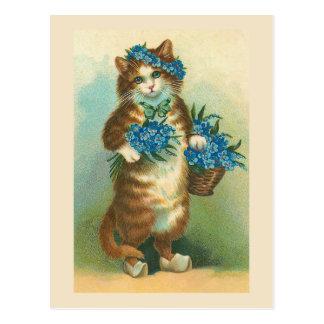 """""""忘れ私notsを持つヴィンテージ猫""""郵便はがき ポストカード"""