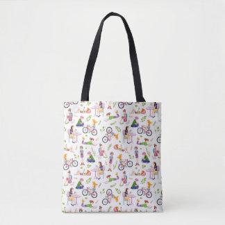 忙しい女の子の水彩画パターン トートバッグ