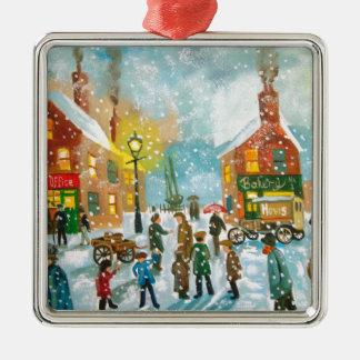 忙しい村の雪の通り場面 メタルオーナメント