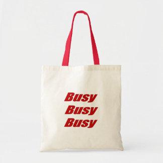忙しく忙しく忙しく赤くユーモアのあるな文字 トートバッグ