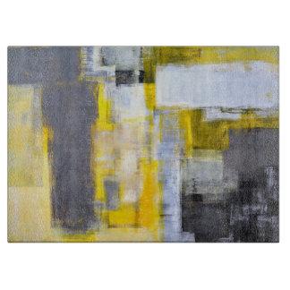 「忙しく、忙しい」灰色および黄色の抽象美術 カッティングボード