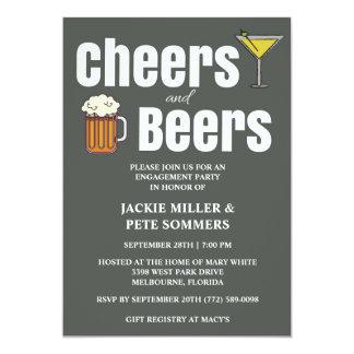 応援およびビール婚約パーティの招待状 12.7 X 17.8 インビテーションカード