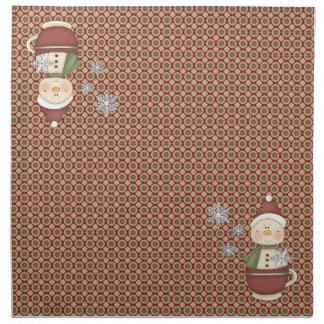 応援のクリスマスのナプキンのかわいいぼろぼろの雪だるまのコップ ナプキンクロス