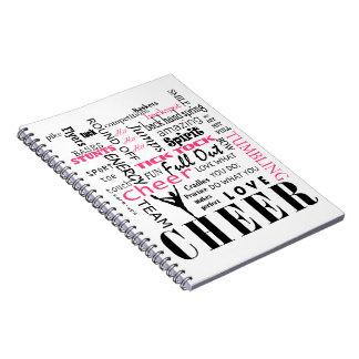 応援のチアリーダーをするピンクおよび黒 ノートブック