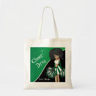 応援の花型女性歌手の緑のチアリーダー トートバッグ