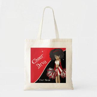 応援の花型女性歌手の赤のチアリーダー トートバッグ