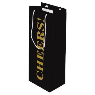 応援の金ゴールドの手紙の黒の背景のワインのギフトバッグ ワインギフトバッグ