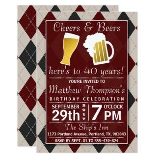 応援及びビール粋で赤い誕生会 12.7 X 17.8 インビテーションカード