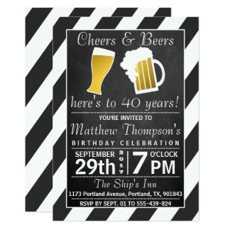 応援及びビール黒板の誕生会 12.7 X 17.8 インビテーションカード