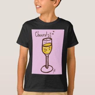 応援! 60sピンクのジル著シャンペンのスケッチ tシャツ