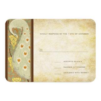 応答カードを結婚しているアールヌーボーの孔雀の鳥 カード