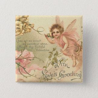 忠実なバレンタインの花の妖精 5.1CM 正方形バッジ