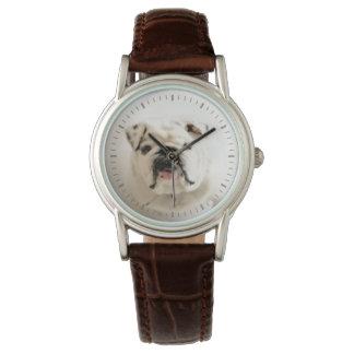 忠節で白いブルドッグの写真 腕時計