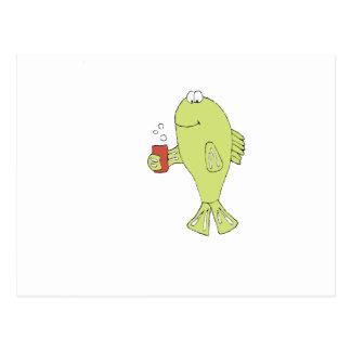 快活なソーダを持つ漫画の魚 ポストカード