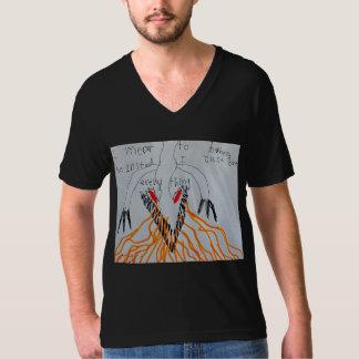 怒っているドラゴンの男性Vneck -黒 Tシャツ