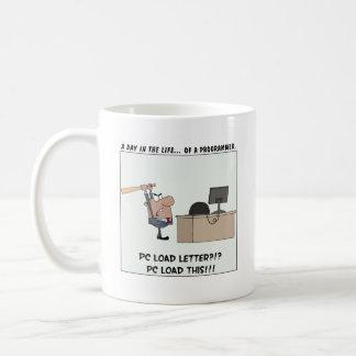 怒っているプログラマーはコンピュータに当ります コーヒーマグカップ
