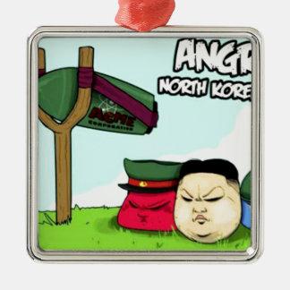 怒っている北朝鮮人 メタルオーナメント