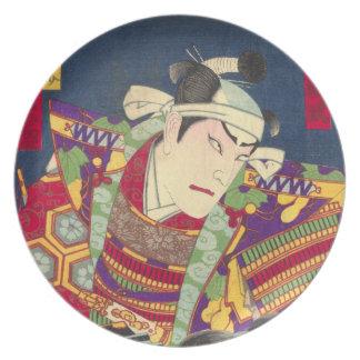 怒っている日本のな武士の旧式なWoodblockのプリント プレート