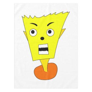 怒っている漫画の顔 テーブルクロス