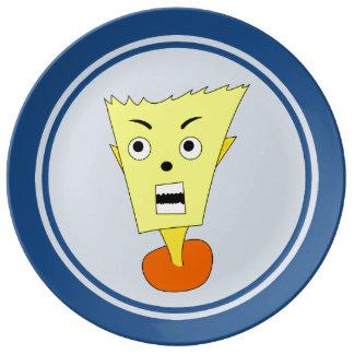 怒っている漫画の顔 磁器プレート