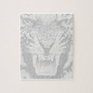怒っている灰色のトラの水平線 ジグソーパズル