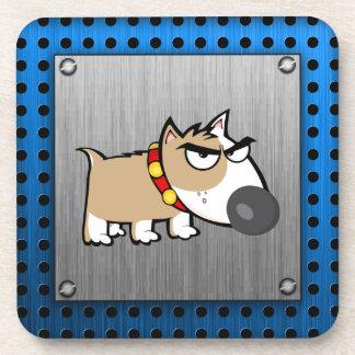 怒っている犬; 金属一見 コースター