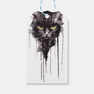 怒っている猫のTシャツ ギフトタグ