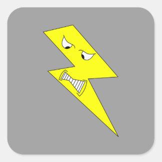 怒っている稲妻。 灰色の黄色 スクエアシール