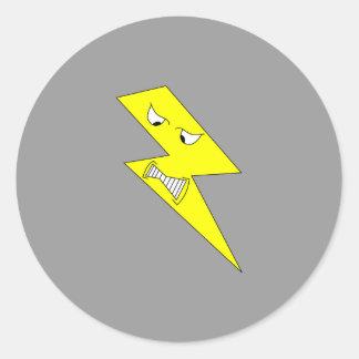 怒っている稲妻。 灰色の黄色 ラウンドシール