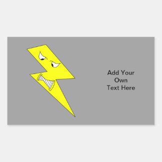 怒っている稲妻。 灰色の黄色 長方形シール