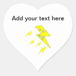 怒っている稲妻。 白の黄色 ハートシール