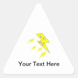 怒っている稲妻。 白の黄色 三角形シール