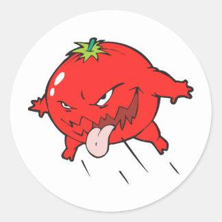 怒っている腐ったトマトのマンガのキャラクタ ラウンドシール