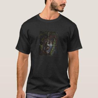 怒っている顔を搭載する基本的な暗いTシャツ Tシャツ