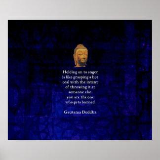 怒りの感動的な仏の引用文にしがみつくこと ポスター