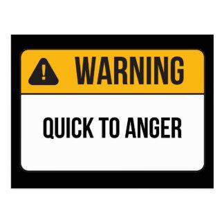 怒りへの警告-速く ポストカード