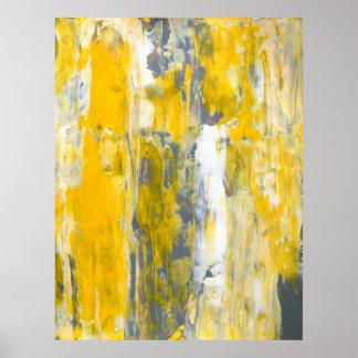 「思案にふけった」灰色および黄色の抽象美術 ポスター