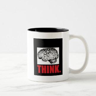 思考のための食糧 ツートーンマグカップ