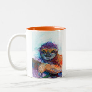 怠惰のスマイル-水彩画 ツートーンマグカップ